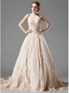 A-Line/Princess Halter Chapel Train Satin Tulle Wedding Dress With Lace Beading