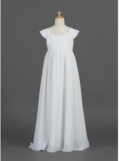 A-Line/Princess Floor-length Flower Girl Dress - Chiffon Sleeveless Scoop Neck With Ruffles