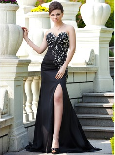 Trumpet/Mermaid Sweetheart Sweep Train Satin Chiffon Prom Dress With Ruffle Beading Split Front