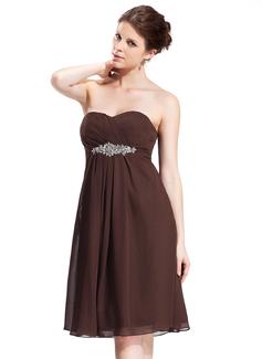 Empire Sweetheart Knee-Length Chiffon Bridesmaid Dress With Ruffle Beading