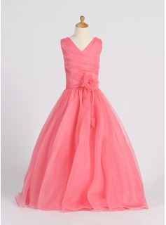 A-Line/Princess V-neck Floor-Length Organza Flower Girl Dress With Ruffle Flower(s) (010007398)