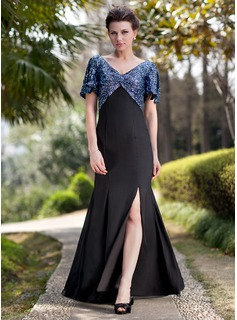 Sheath V-neck Floor-Length Chiffon Sequined Mother of the Bride Dress With Ruffle (008018719)