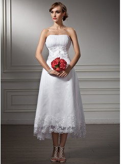 A-Line/Princess Sweetheart Asymmetrical Organza Satin Wedding Dress With Lace Beadwork Sequins (002008177)