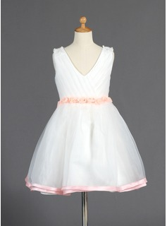 A-Line/Princess V-neck Knee-Length Organza Charmeuse Flower Girl Dress With Sash Beading Flower(s)