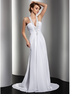 Sheath/Column Halter Court Train Chiffon Wedding Dress With Ruffle Lace Beadwork Sequins (002012134)