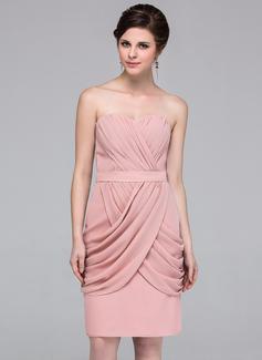 Sheath/Column Sweetheart Knee-Length Chiffon Bridesmaid Dress With Ruffle