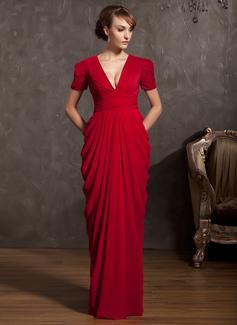 Tubo Decote V Longos tecido de seda Vestido para a mãe da noiva com Pregueado