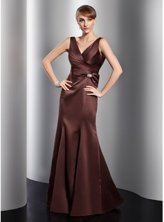 Mermaid V-neck Floor-Length Satin Evening Dress With Ruffle Crystal Brooch (017014758)