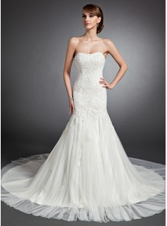 Mermaid Sweetheart Cathedral Train Tulle Wedding Dress With Ruffle Lace Beadwork (002015136)