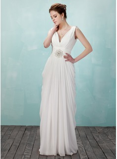 Sheath V-neck Floor-Length Chiffon Evening Dress With Ruffle Beading (017018949)