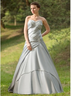 Ball-Gown Sweetheart Sweep Train Satin Wedding Dress With Ruffle Lace (002024697)