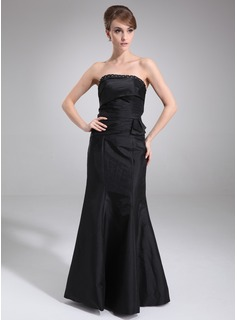 Mermaid Strapless Floor-Length Taffeta Bridesmaid Dress With Ruffle Beading (007001573)