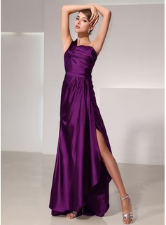 A-Line/Princess One-Shoulder Asymmetrical Charmeuse Evening Dress With Ruffle (017014429)