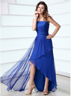 Sheath One-Shoulder Asymmetrical Chiffon Holiday Dress With Ruffle (020017308)