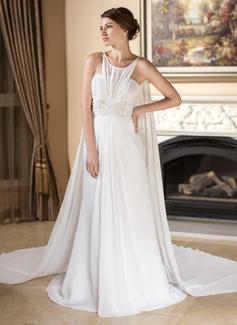 Vestidos princesa/ Formato A Decote redondo Cauda watteau De chiffon Vestido de noiva com Pregueado Bordado