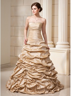 Ball-Gown Sweetheart Court Train Taffeta Wedding Dress With Ruffle Beadwork Flower(s) Sequins
