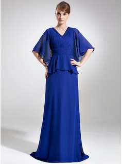 A-Line/Princess V-neck Sweep Train Chiffon Mother of the Bride Dress With Beading Sequins Cascading Ruffles