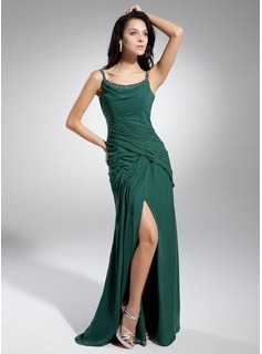 A-Line/Princess Scoop Neck Floor-Length Chiffon Charmeuse Mother of the Bride Dress With Ruffle Beading (008014931)