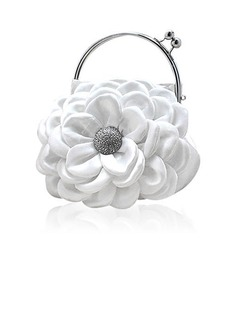 (White)Satin With Shining Rhinestones Evening Handbags/ Clutches/ Top Handle Bags (012013558)