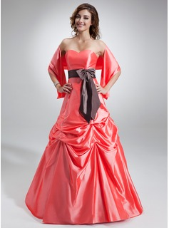 A-Line/Princess Sweetheart Floor-Length Taffeta Bridesmaid Dress With Ruffle Sash Bow(s)