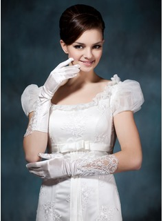 Elastic Satin Beadings Lace Elbow Gloves (014020477)