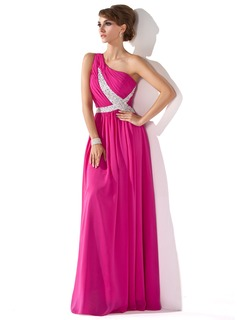 A-Linie/Princess-Linie One-Shoulder-Trger Bodenlang Chiffon Abendkleid mit Rschen Perlen verziert Paillette (017005592)