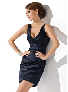 Sheath V-neck Short/Mini Charmeuse Cocktail Dress With Ruffle (016008439)