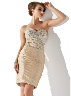 Sheath Sweetheart Knee-Length Taffeta Cocktail Dress With Ruffle Beading Sequins (016008490)