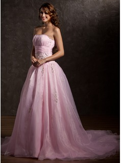Ball-Gown Sweetheart Chapel Train Organza Wedding Dress With Ruffle Lace Beading Sequins