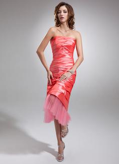 Sheath/Column Strapless Tea-Length Taffeta Tulle Prom Dress With Ruffle