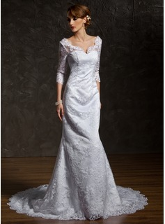 Mermaid V-neck Court Train Satin Lace Wedding Dress With Beadwork (002011518)