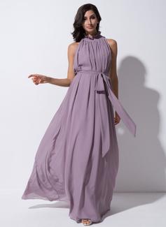 A-Line/Princess High Neck Floor-Length Chiffon Bridesmaid Dress With Bow(s) Cascading Ruffles