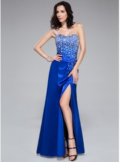 Trumpet/Mermaid One-Shoulder Floor-Length Charmeuse Prom Dress With Beading Split Front