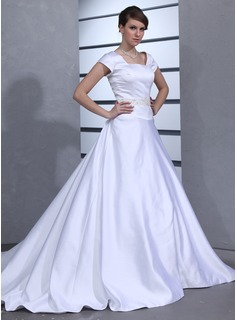 Ball-Gown Square Neckline Cathedral Train Satin Wedding Dress With Beadwork (002001629)