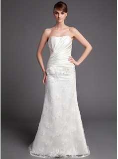 Sheath/Column Sweetheart Court Train Satin Lace Wedding Dress With Ruffle Beadwork Flower(s)