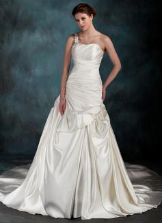 Corte A/Princesa Un sólo hombro Cola capilla Satén Vestido de novia con Volantes Bordado Los appliques
