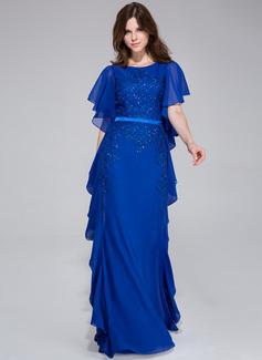 Corte A/Princesa Escote redondo Vestido Chifón Charmeuse Vestido de noche con Encaje Bordado Cascada de volantes