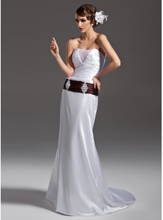 Sheath/Column Strapless Court Train Tulle Charmeuse Wedding Dress With Ruffle Sashes Beadwork (002011502)
