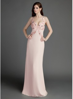 Sheath Sweetheart Watteau Train Chiffon Prom Dress With Beading (018015685)
