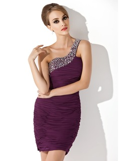 Sheath One-Shoulder Short/Mini Chiffon Cocktail Dress With Ruffle Beading Sequins