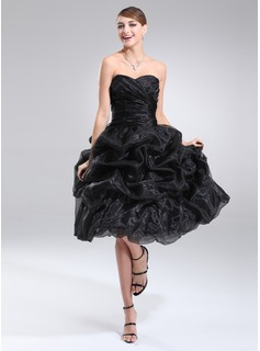A-Line/Princess Sweetheart Tea-Length Organza Homecoming Dress With Ruffle (022021295)