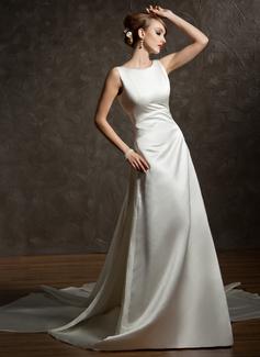 Corte A/Princesa Escote redondo Cola watteau Satén Vestido de novia con Volantes