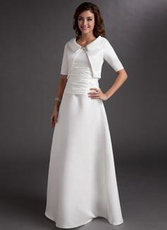 Vestidos princesa/ Formato A Decote V Longos Cetim Vestido para a mãe da noiva com Pregueado