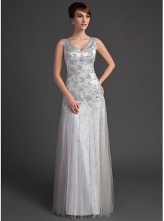 A-Line/Princess V-neck Floor-Length Tulle Charmeuse Mother of the Bride Dress With Lace Beading Sequins
