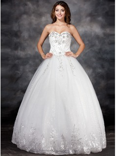 Ball-Gown Sweetheart Floor-Length Satin Tulle Wedding Dress With Lace Beading Flower(s) Sequins