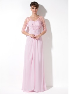 A-Line/Princess V-neck Floor-Length Chiffon Tulle Mother of the Bride Dress With Ruffle Lace Beading Sequins (008005989)