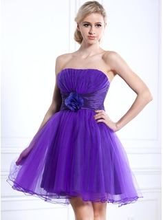 Empire Strapless Short/Mini Taffeta Tulle Homecoming Dress With Ruffle Flower(s)