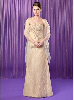 Sheath Sweetheart Floor-Length Taffeta Lace Mother of the Bride Dress With Beading Sequins (008018739)