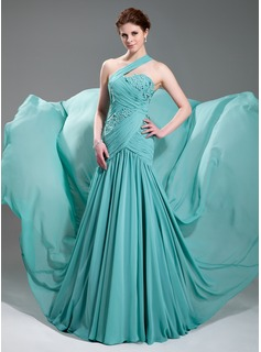 A-Line/Princess One-Shoulder Court Train Chiffon Evening Dress With Ruffle Beading Appliques Lace