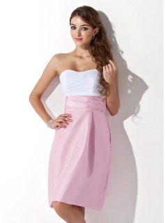 Sheath Sweetheart Knee-Length Taffeta Bridesmaid Dress With Ruffle (007004307)